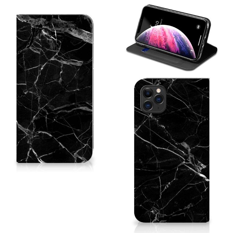 Apple iPhone 11 Pro Max Standcase Marmer Zwart