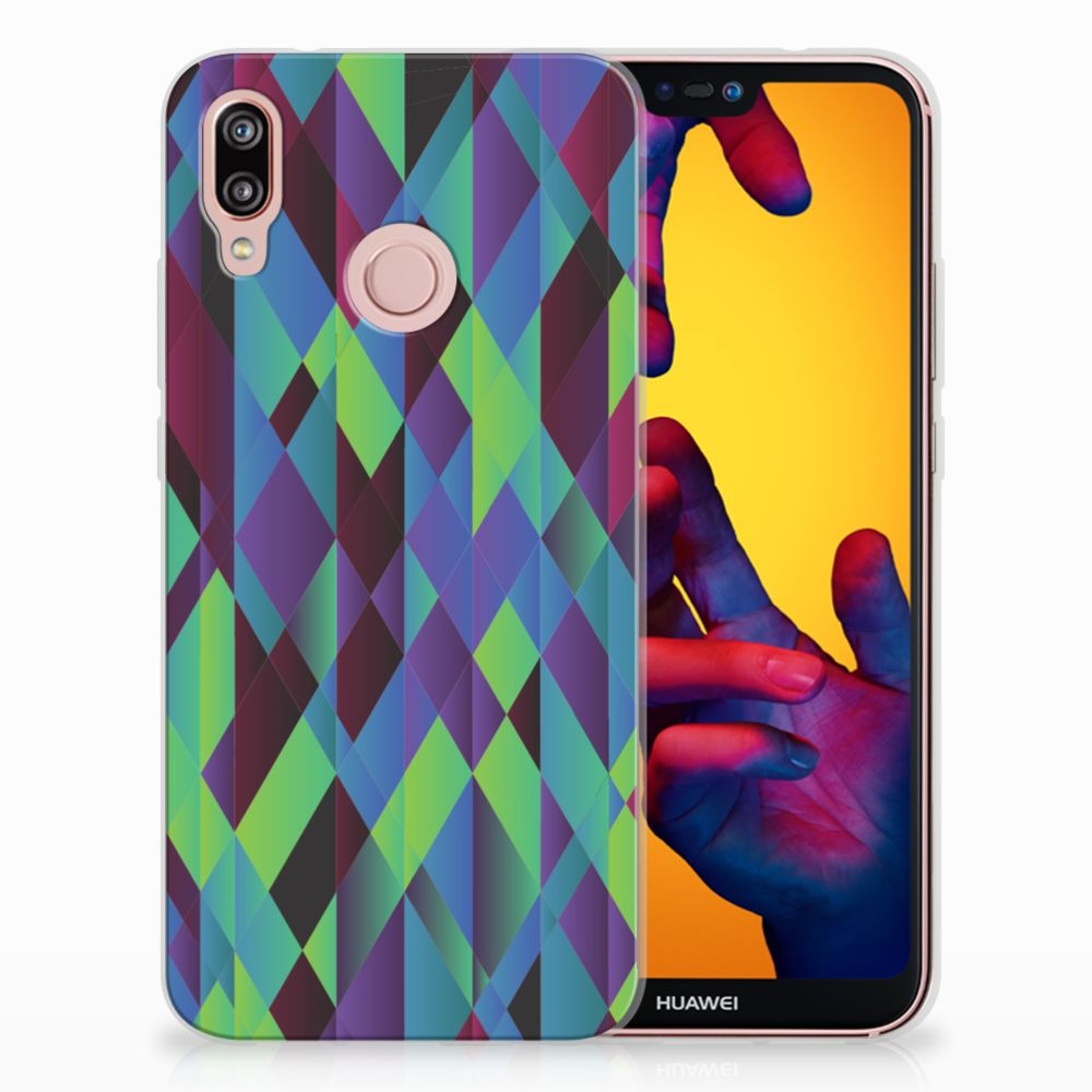 Huawei P20 Lite TPU Hoesje Design Abstract Green Blue