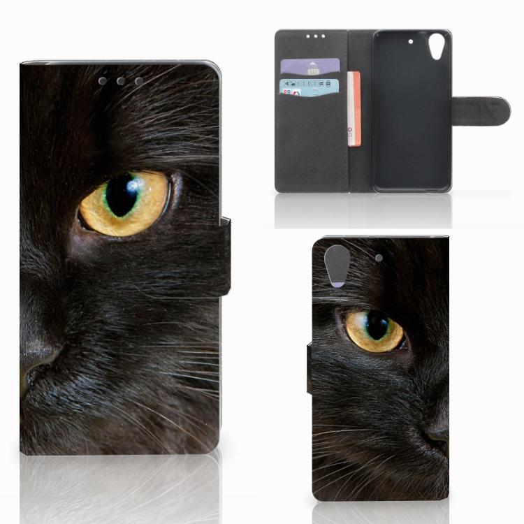 HTC Desire 626 | Desire 626s Telefoonhoesje met Pasjes Zwarte Kat