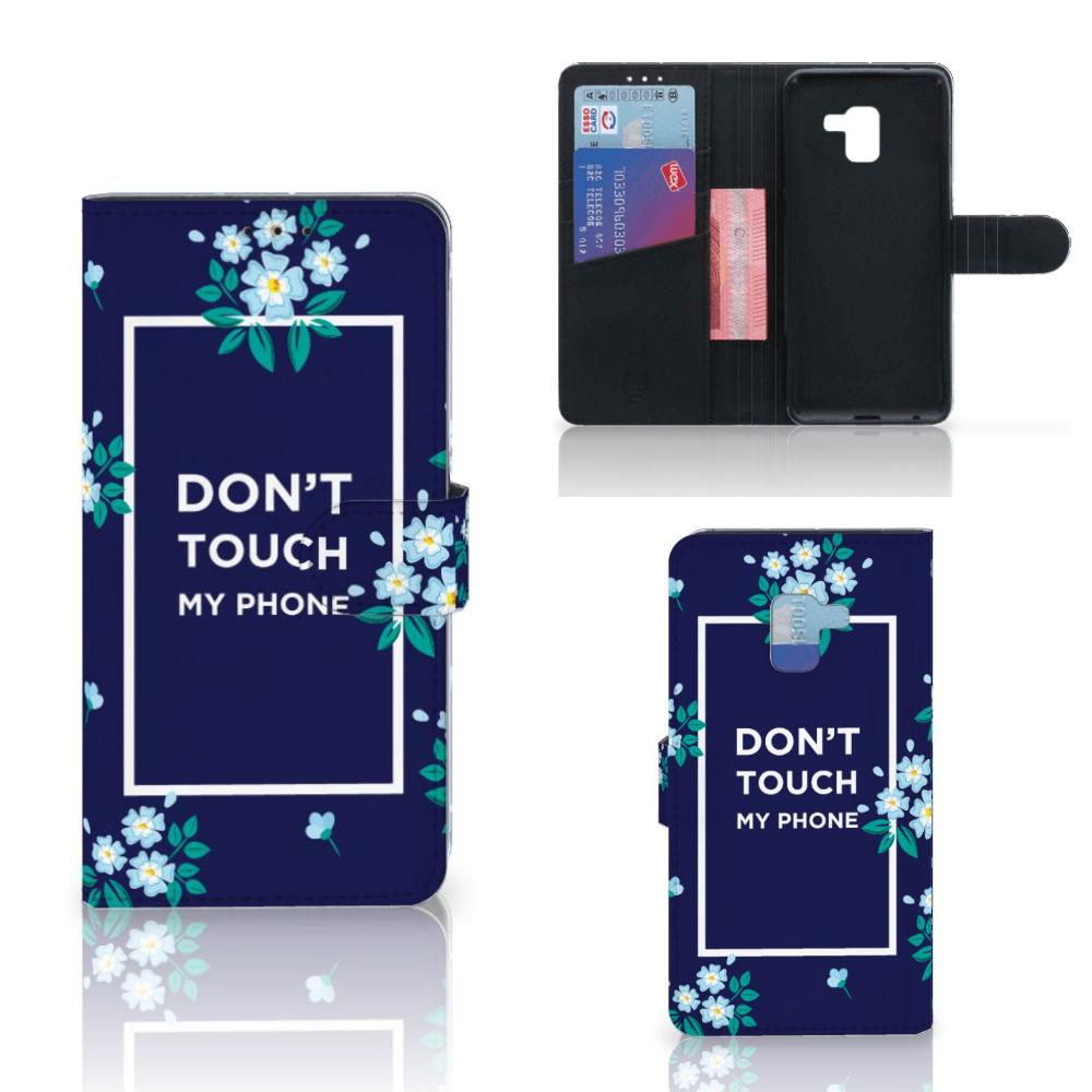 Samsung Galaxy A8 Plus (2018) Portemonnee Hoesje Flowers Blue DTMP