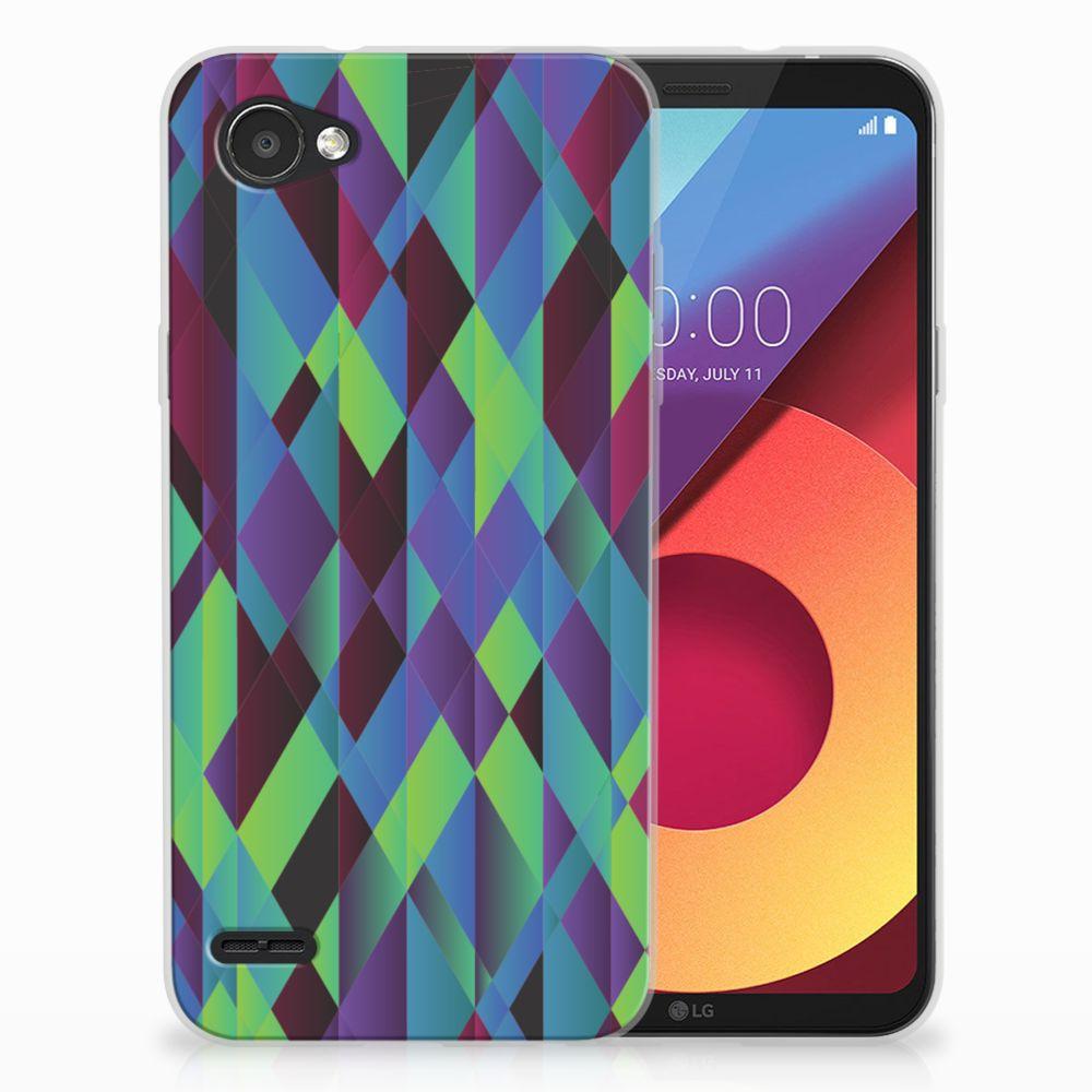 LG Q6   LG Q6 Plus TPU Hoesje Design Abstract Green Blue