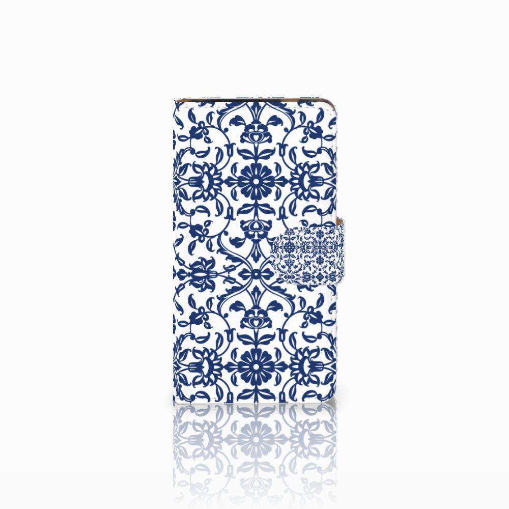 HTC Desire 601 Uniek Boekhoesje Flower Blue
