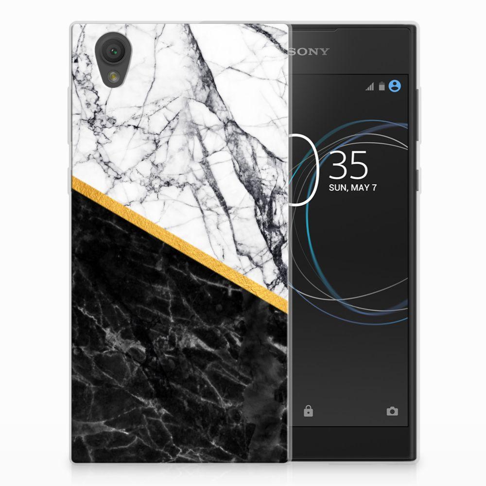 Sony Xperia L1 Uniek TPU Hoesje Marble White Black