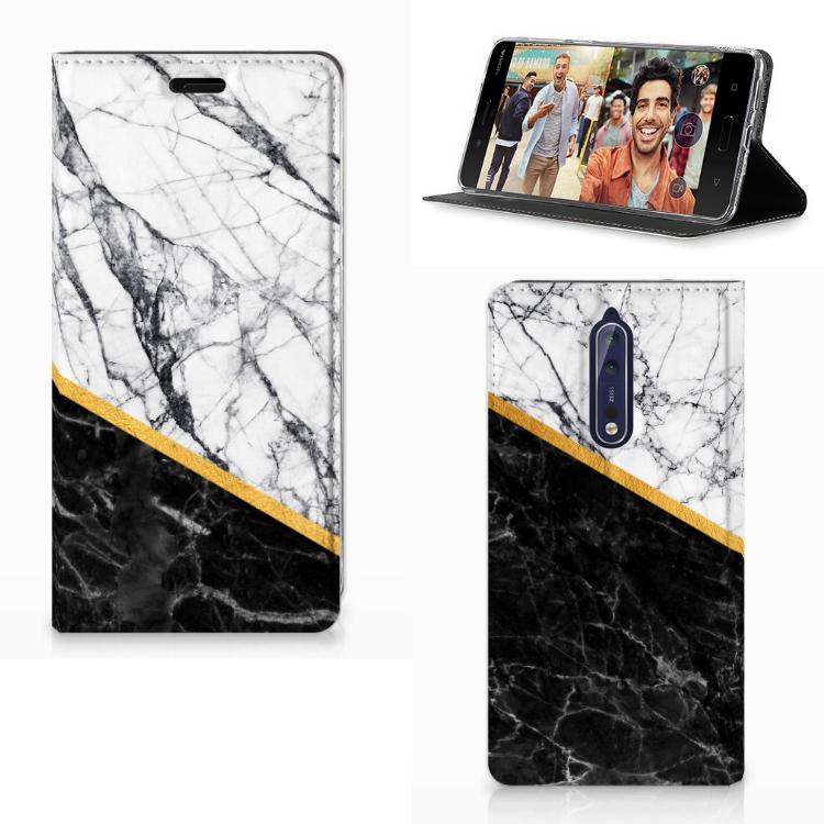 Nokia 8 Standcase Marmer Wit Zwart - Origineel Cadeau Man