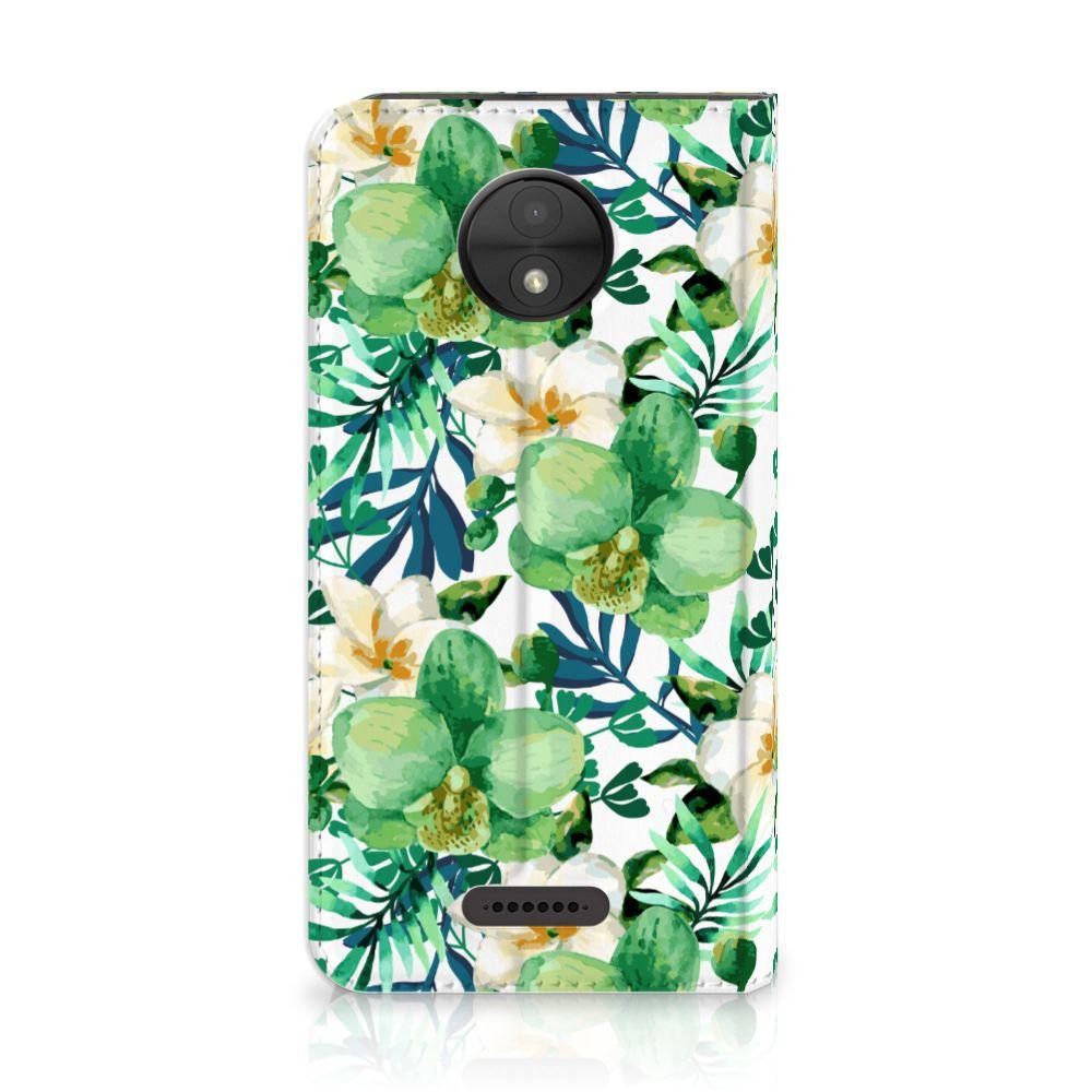 Motorola Moto C Uniek Standcase Hoesje Orchidee Groen