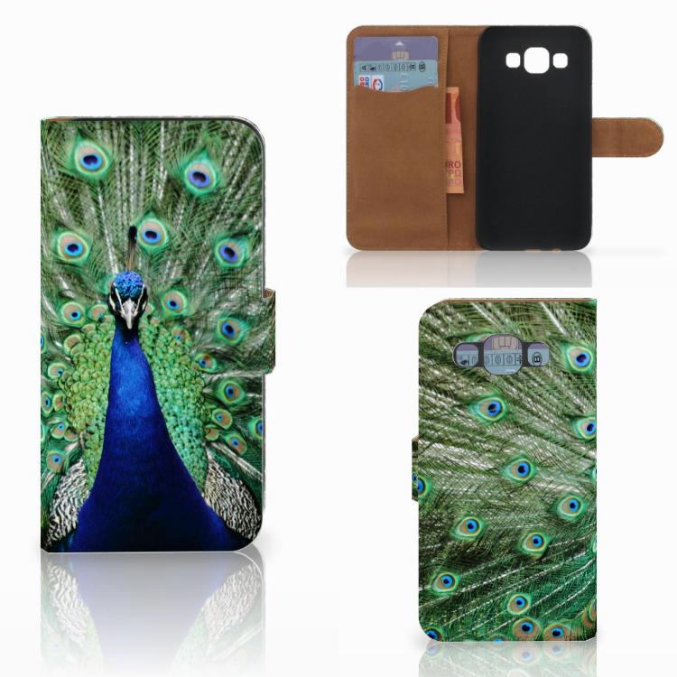 Samsung Galaxy E5 Telefoonhoesje met Pasjes Pauw