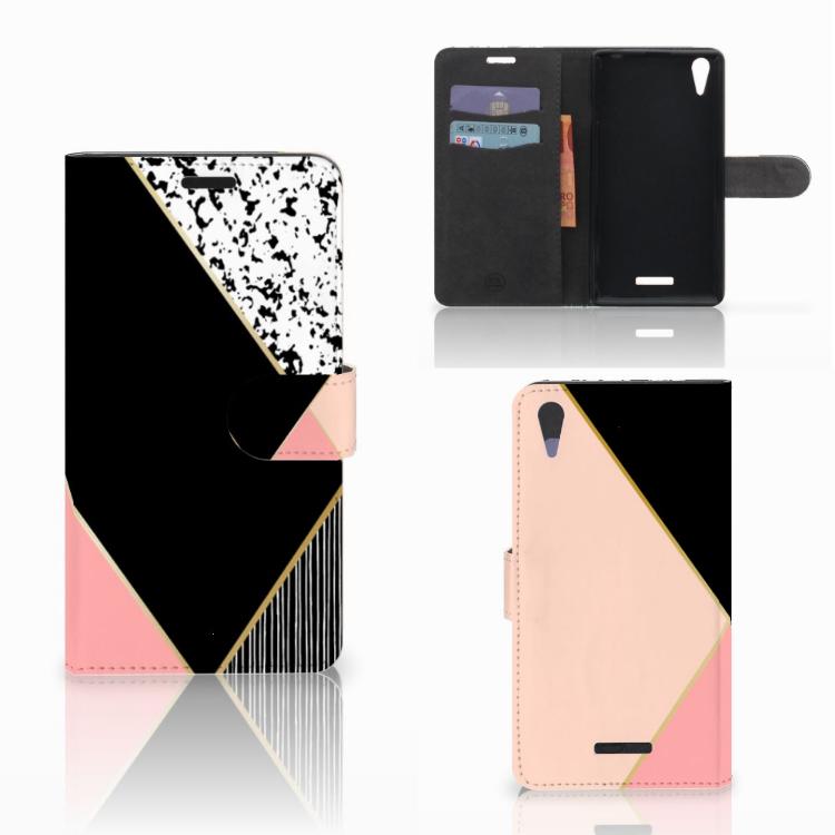 Sony Xperia T3 Bookcase Zwart Roze Vormen