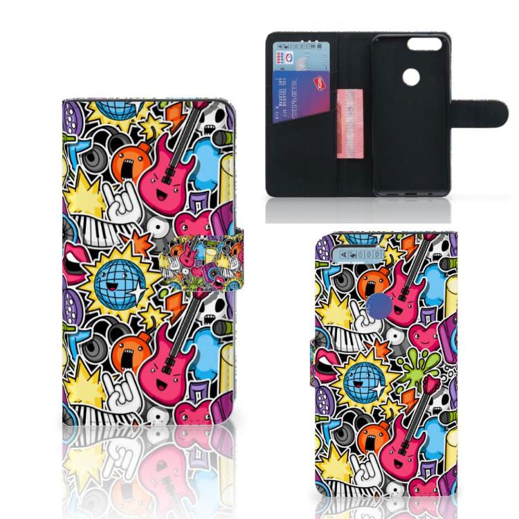 OnePlus 5T Wallet Case met Pasjes Punk Rock