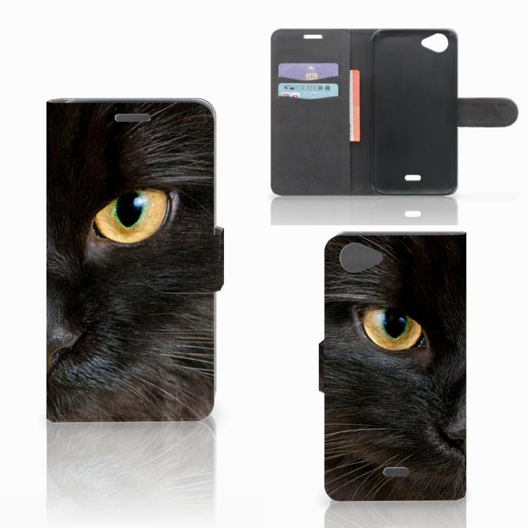 Wiko Rainbow Jam Telefoonhoesje met Pasjes Zwarte Kat