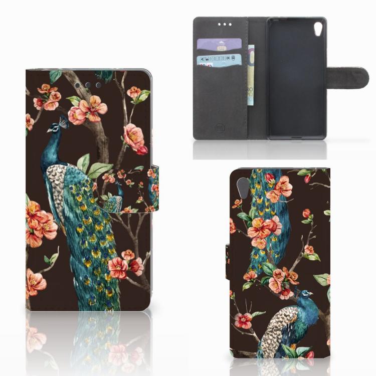 Sony Xperia E5 Telefoonhoesje met Pasjes Pauw met Bloemen