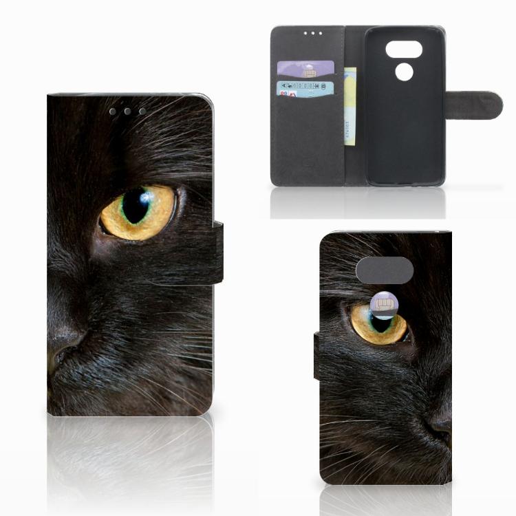LG G5 Telefoonhoesje met Pasjes Zwarte Kat