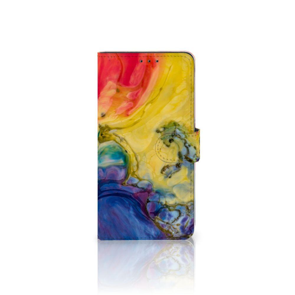 Samsung Galaxy A8 Plus (2018) Uniek Boekhoesje Watercolor Dark