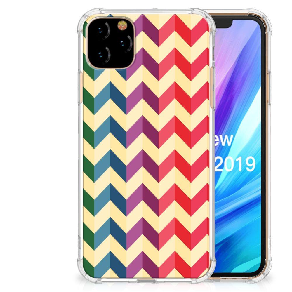 Apple iPhone 11 Pro Max Doorzichtige Silicone Hoesje Zigzag Multi Color