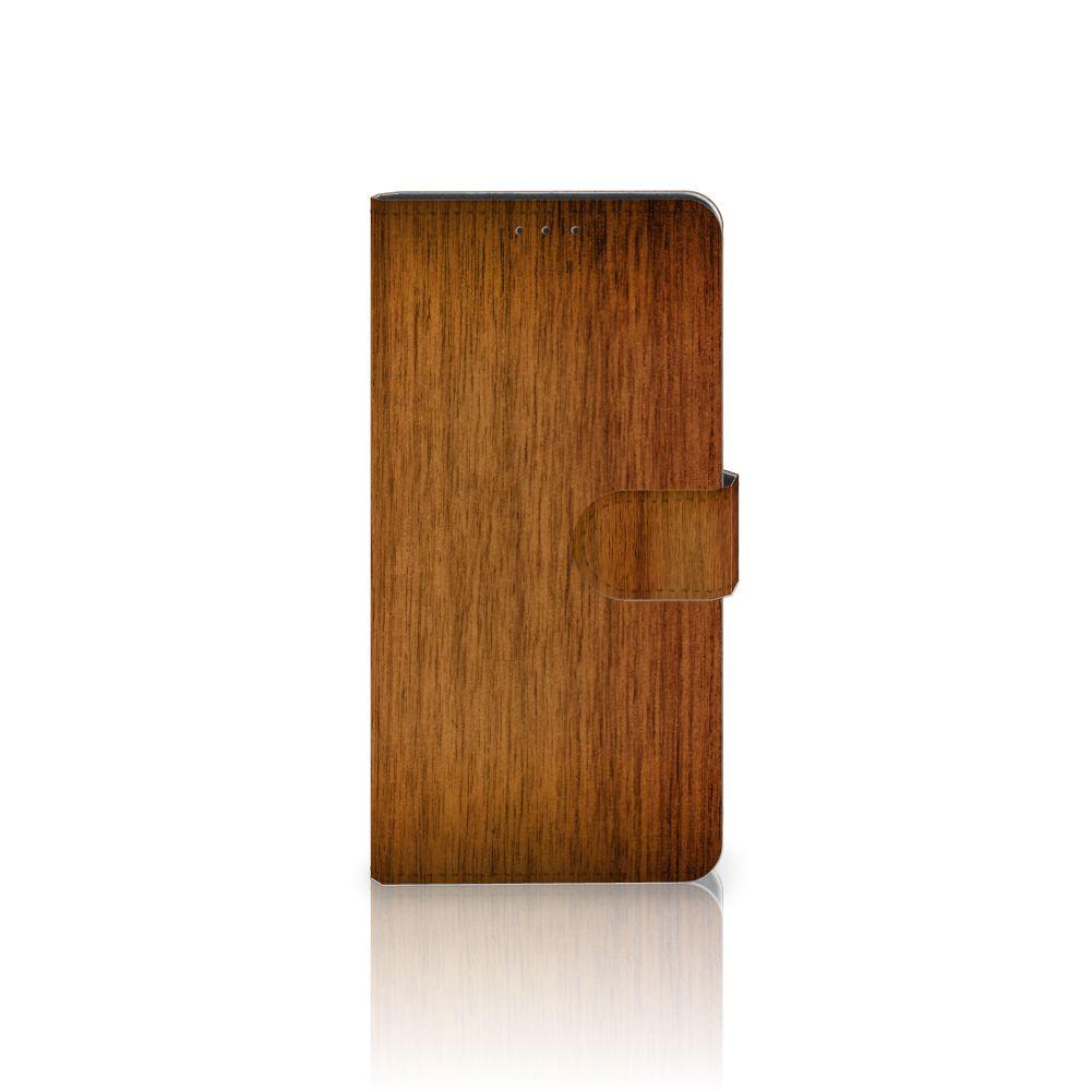 Motorola Moto Z Play Uniek Boekhoesje Donker Hout