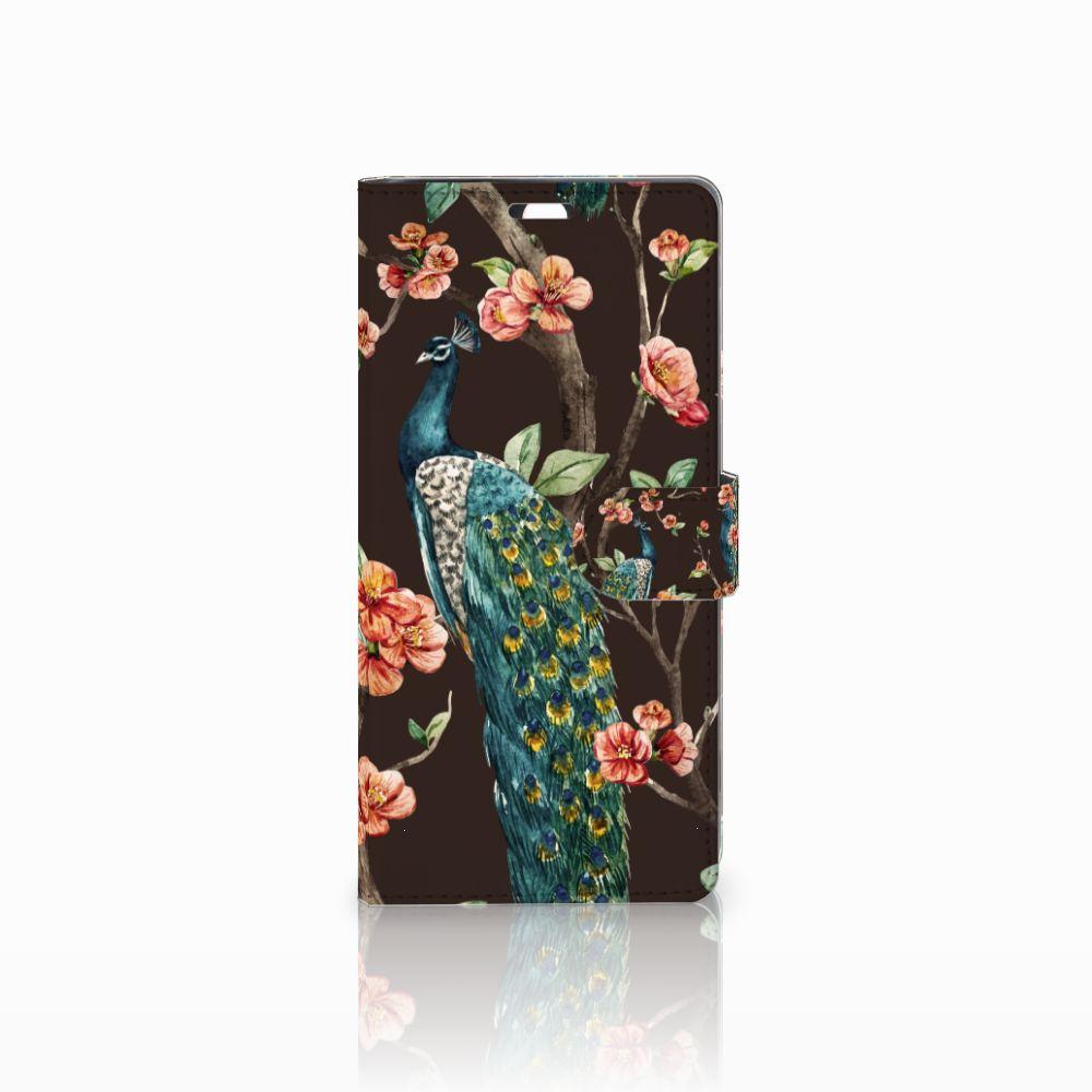 Sony Xperia C5 Ultra Boekhoesje Design Pauw met Bloemen