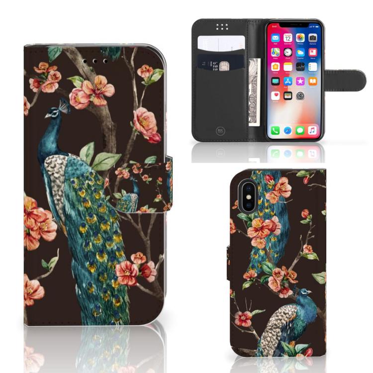 Apple iPhone X | Xs Telefoonhoesje met Pasjes Pauw met Bloemen