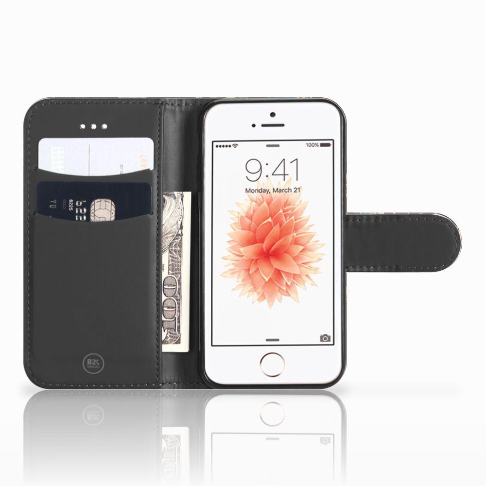 Apple iPhone 5   5s   SE Telefoonhoesje met Pasjes Pauw met Bloemen