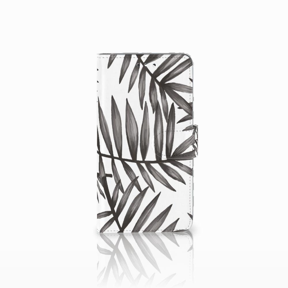 Huawei Y7 2017   Y7 Prime 2017 Uniek Boekhoesje Leaves Grey