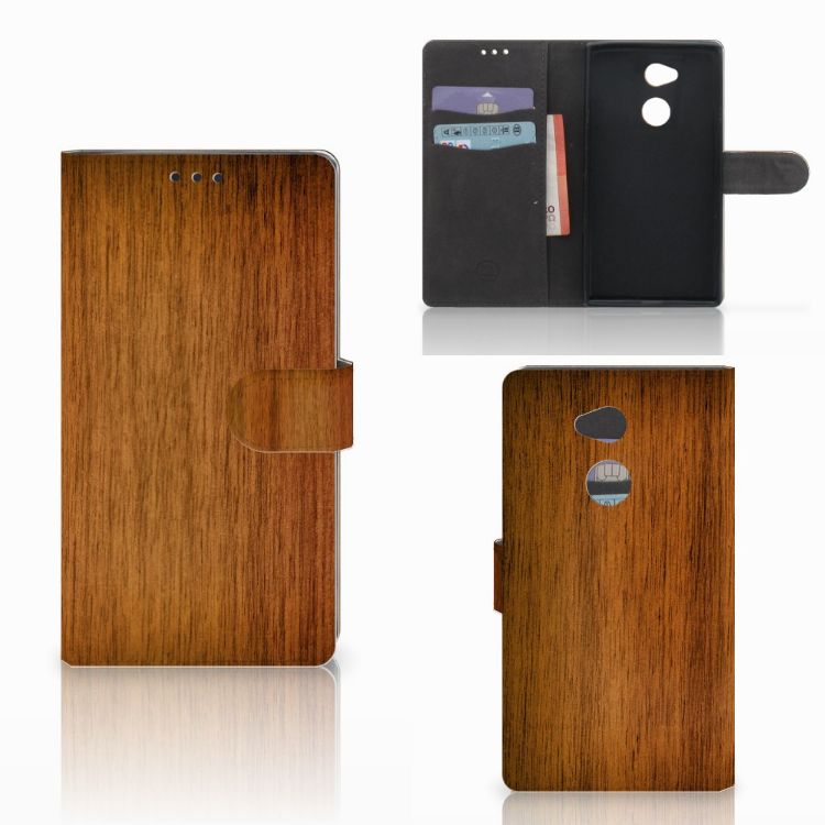 Sony Xperia XA2 Ultra Book Style Case Donker Hout