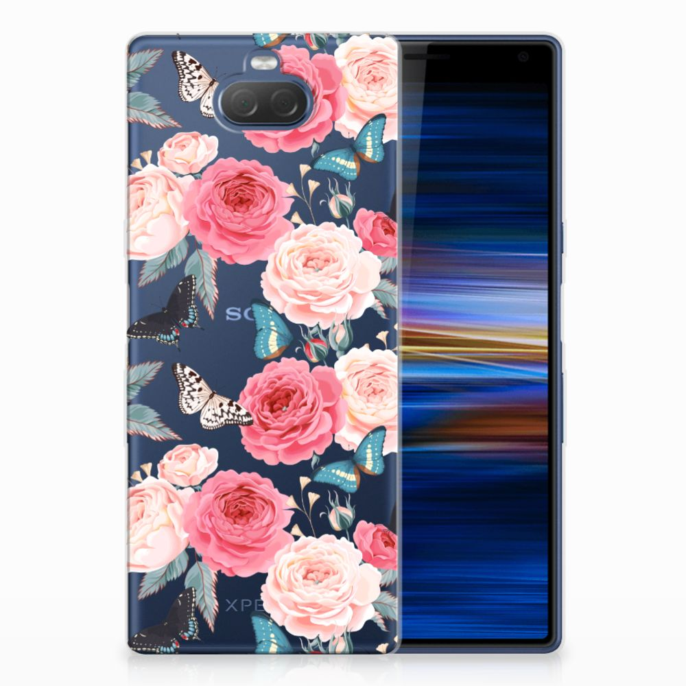 Sony Xperia 10 Plus Uniek TPU Hoesje Butterfly Roses