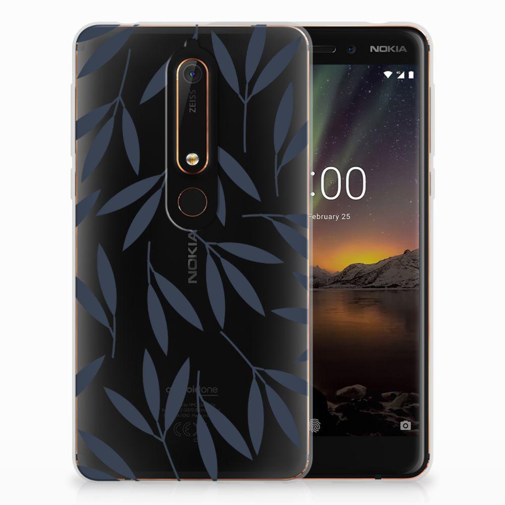 Nokia 6 (2018) TPU Hoesje Design Leaves Blue