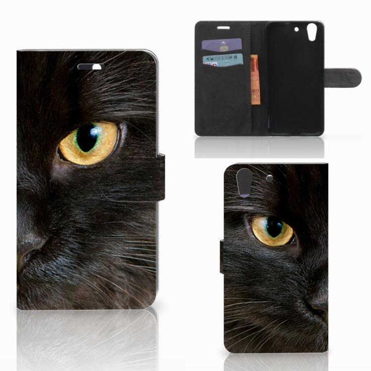 Huawei Y6 II | Honor 5A Telefoonhoesje met Pasjes Zwarte Kat