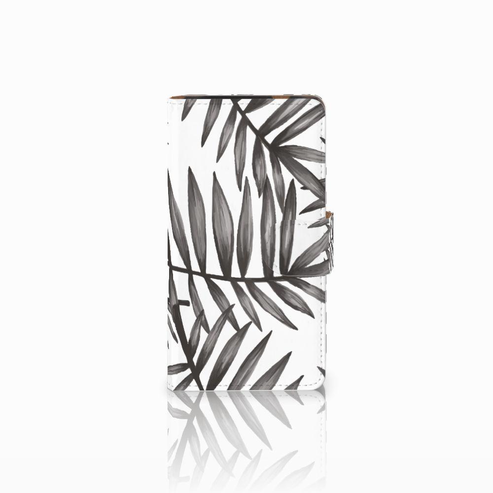 HTC Desire 601 Uniek Boekhoesje Leaves Grey
