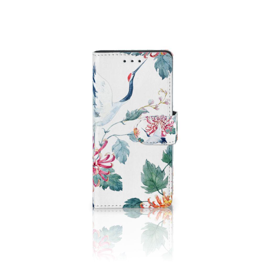 Samsung Galaxy S5 | S5 Neo Telefoonhoesje met Pasjes Bird Flowers