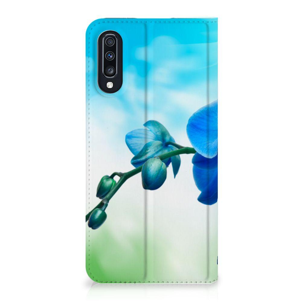 Samsung Galaxy A70 Standcase Hoesje Design Orchidee Blauw