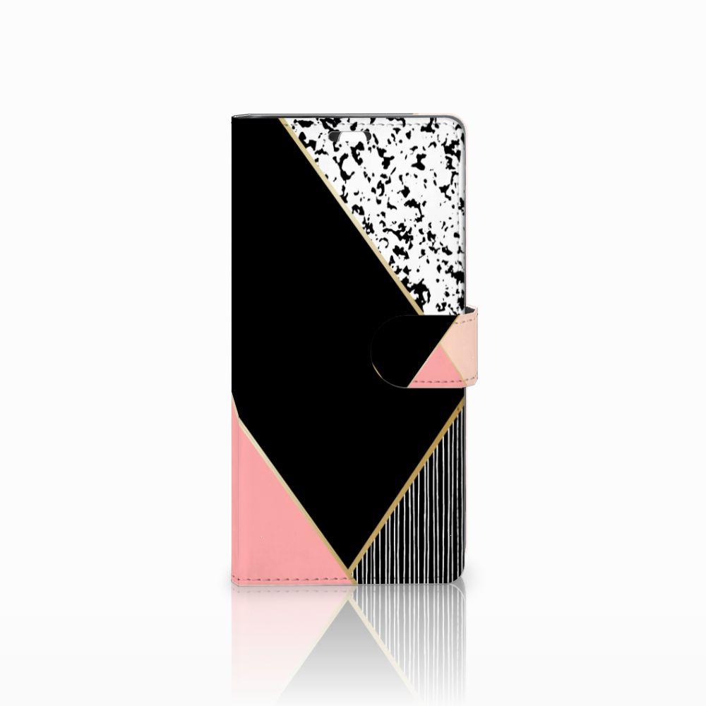 Sony Xperia C5 Ultra Uniek Boekhoesje Black Pink Shapes