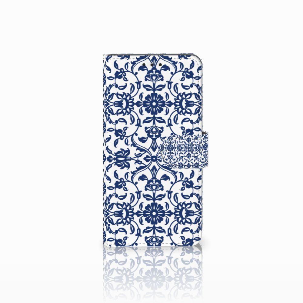 Samsung Galaxy A8 2018 Boekhoesje Flower Blue