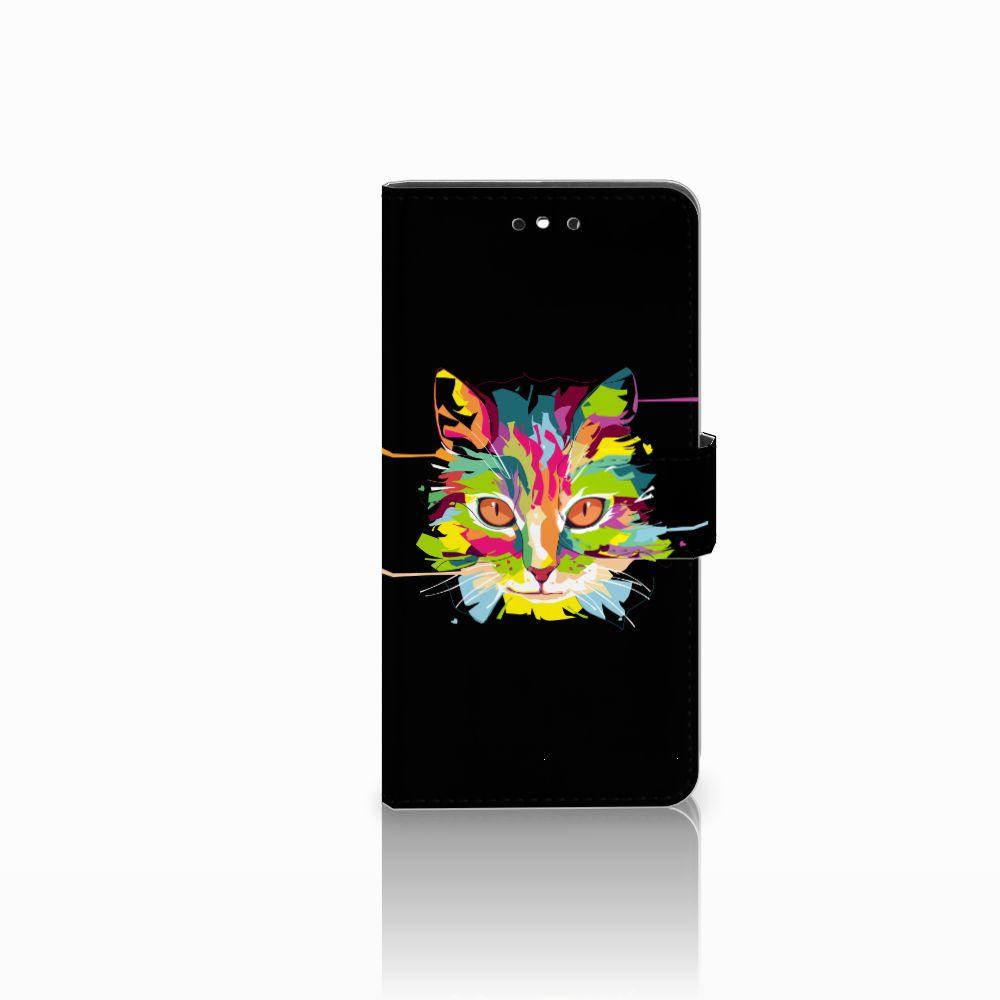 Huawei P8 Lite Smart (GR3) Uniek Boekhoesje Cat Color