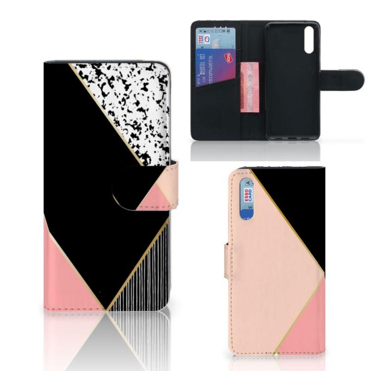 Huawei P20 Bookcase Zwart Roze Vormen