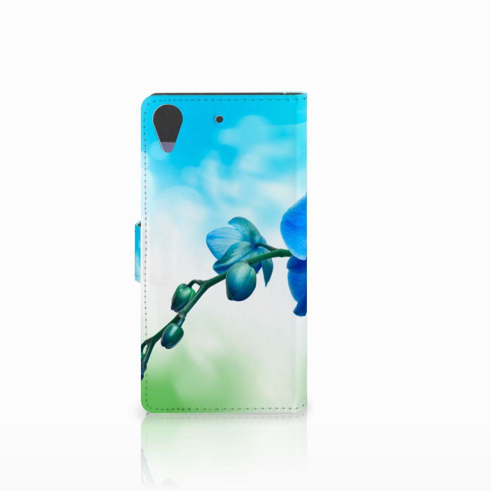 HTC Desire 628 Hoesje Orchidee Blauw