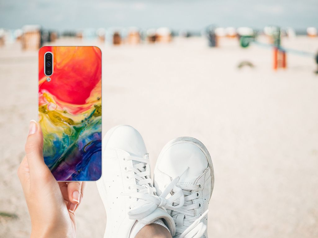 Hoesje maken Samsung Galaxy A50 Watercolor Dark