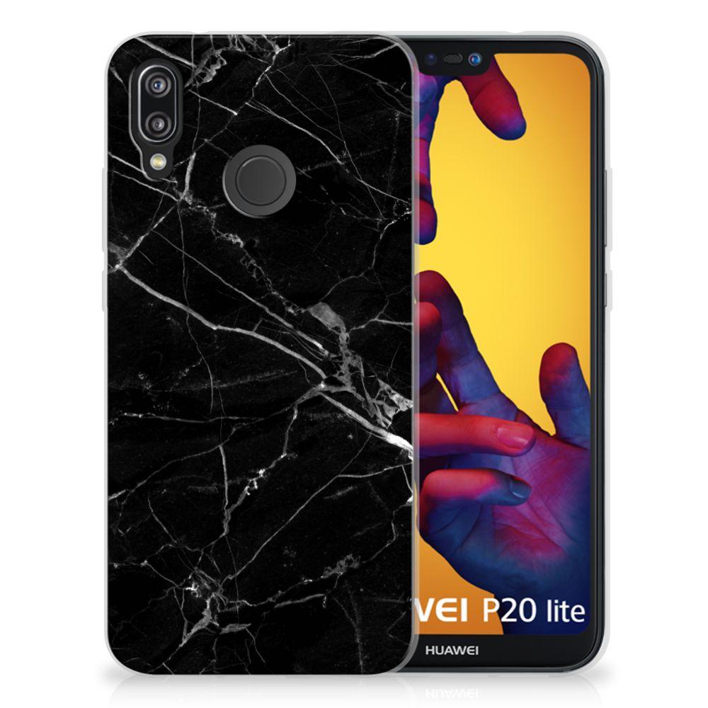 Huawei P20 Lite Uniek TPU Hoesje Marmer Zwart