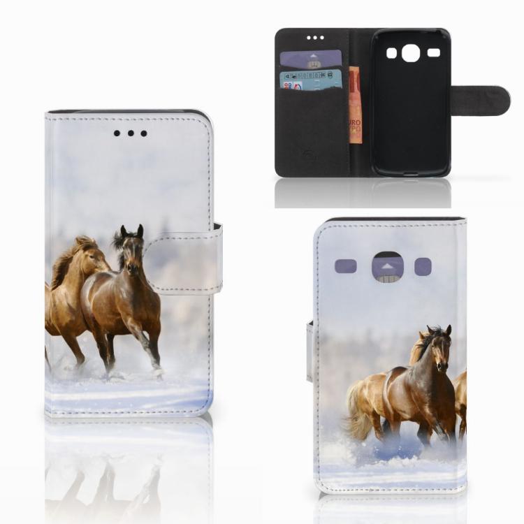 Samsung Galaxy Core i8260 Telefoonhoesje met Pasjes Paarden