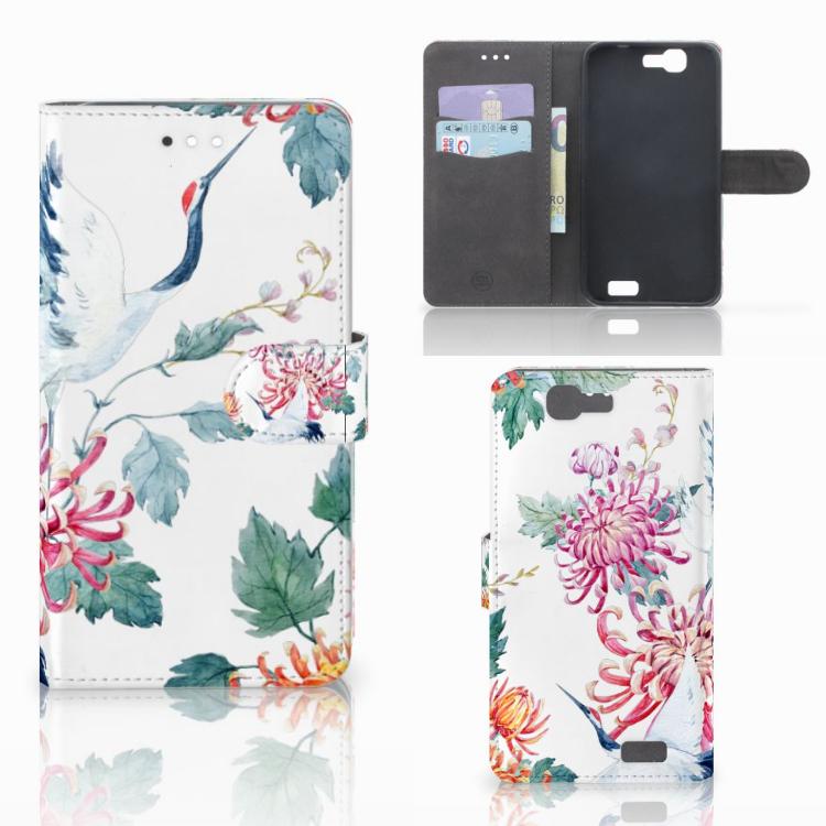 Huawei Ascend G7 Telefoonhoesje met Pasjes Bird Flowers