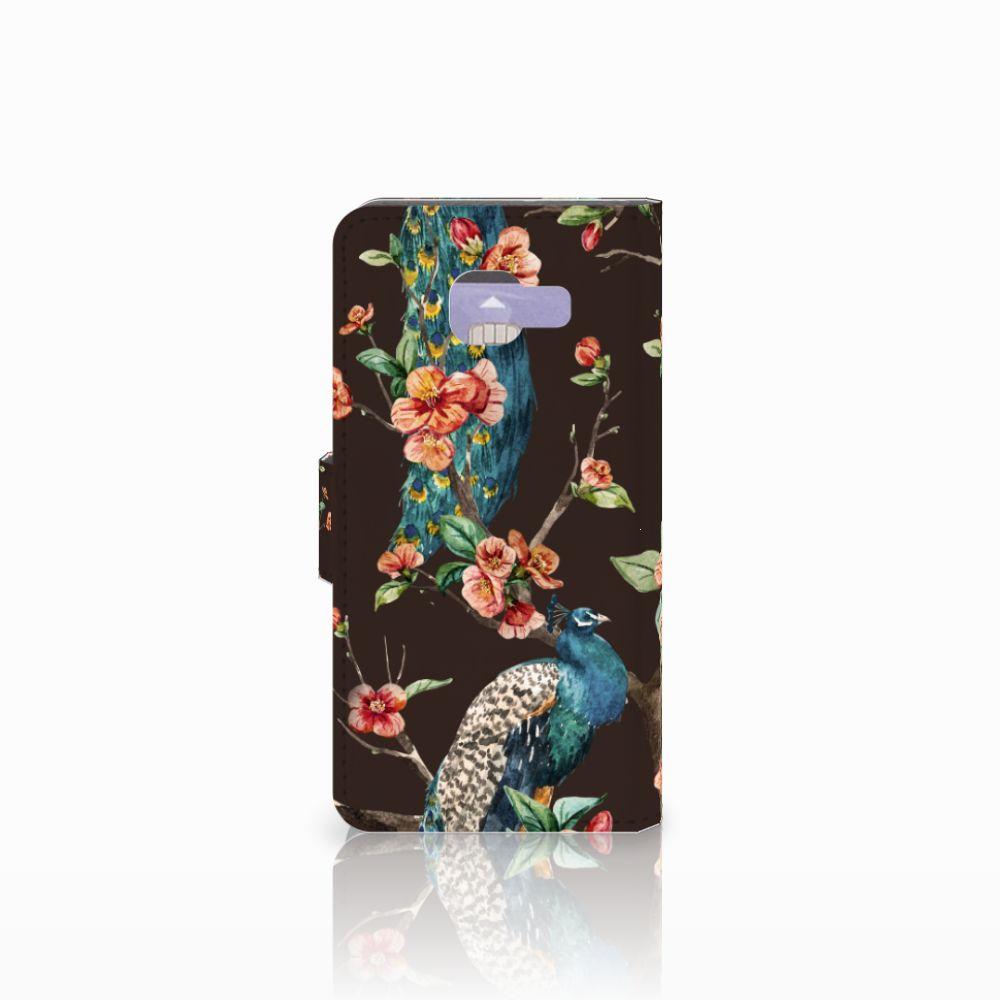 Samsung Galaxy A3 2016 Telefoonhoesje met Pasjes Pauw met Bloemen