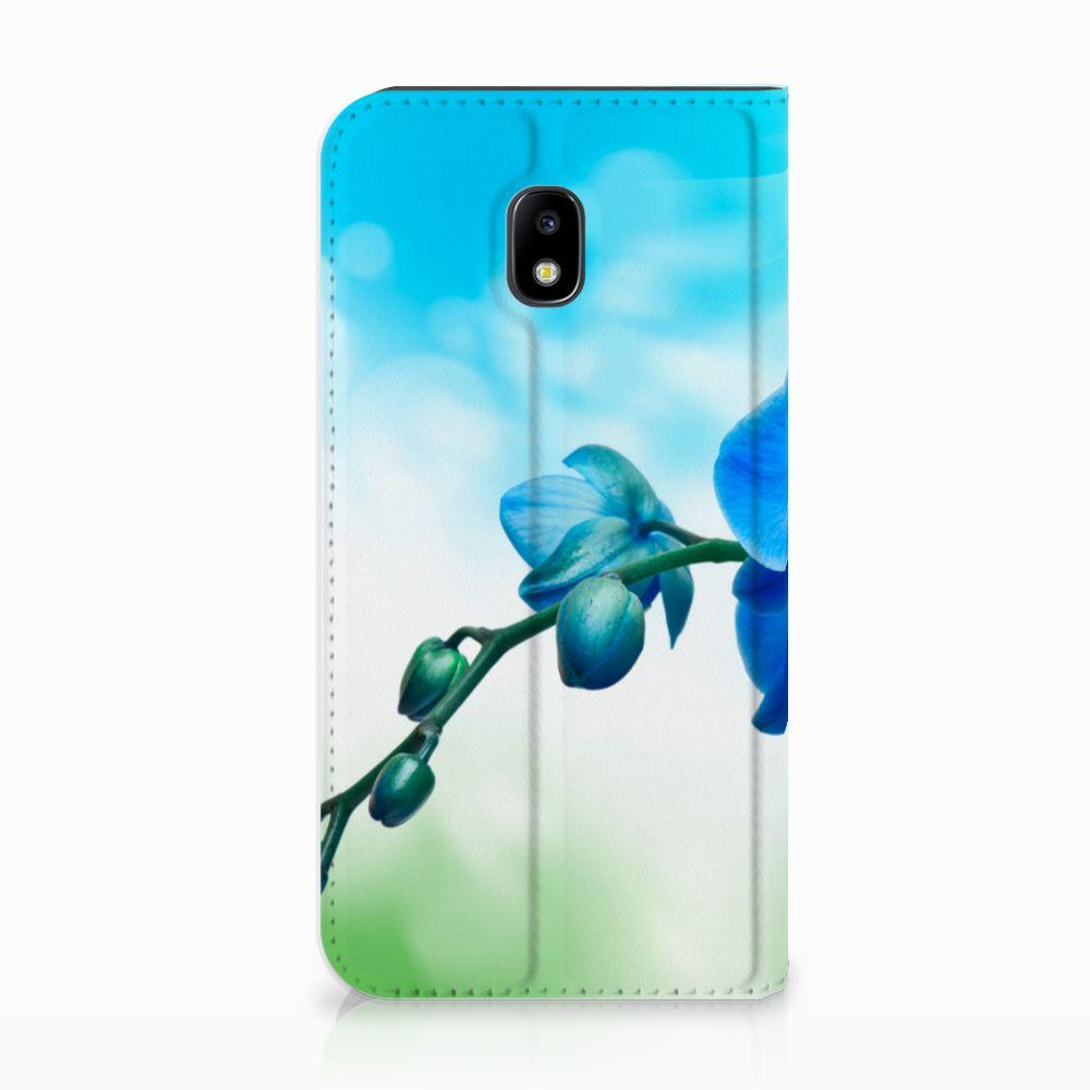 Samsung Galaxy J3 2017 Standcase Hoesje Design Orchidee Blauw