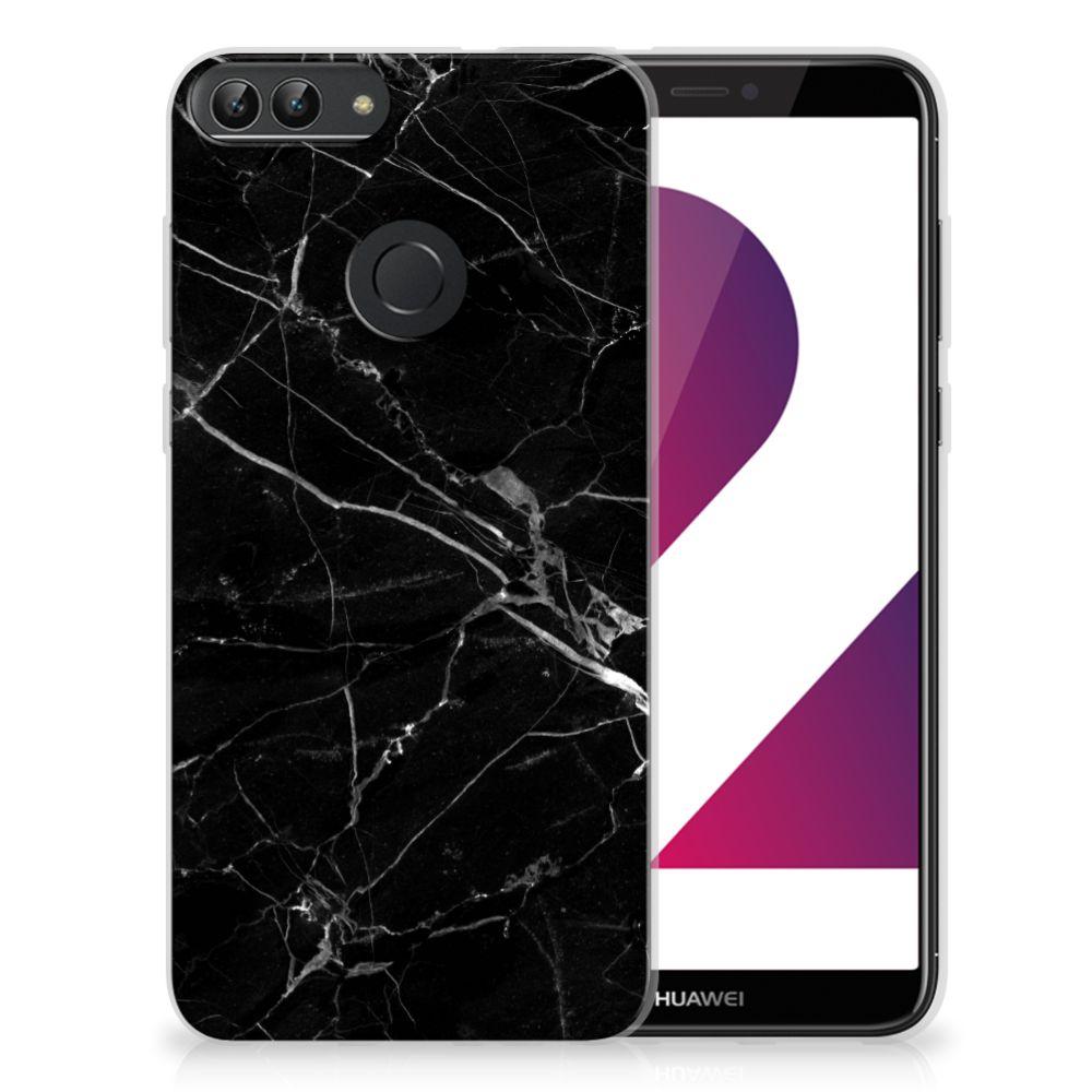 Huawei P Smart TPU Siliconen Hoesje Marmer Zwart