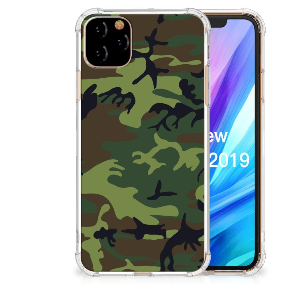 Apple iPhone 11 Pro Max Doorzichtige Silicone Hoesje Army Dark
