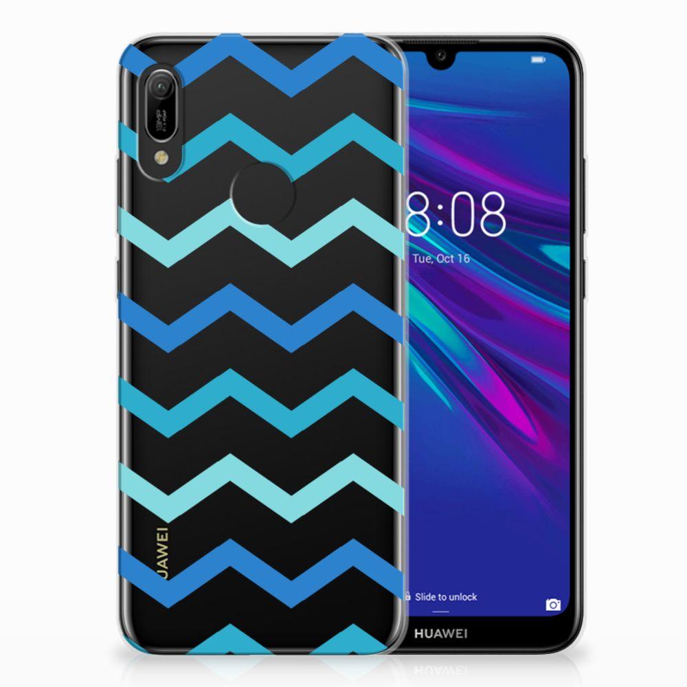 Huawei Y6 2019 | Y6 Pro 2019 Uniek TPU Hoesje Zigzag Blauw