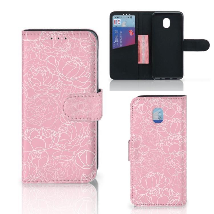 Samsung Galaxy J3 (2018) Wallet Case White Flowers