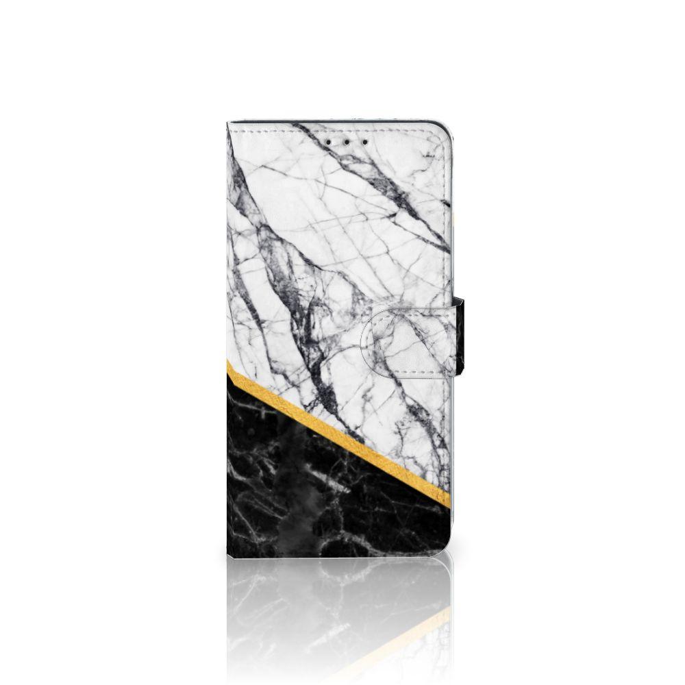 Samsung Galaxy A8 Plus (2018) Uniek Boekhoesje Marble White Black
