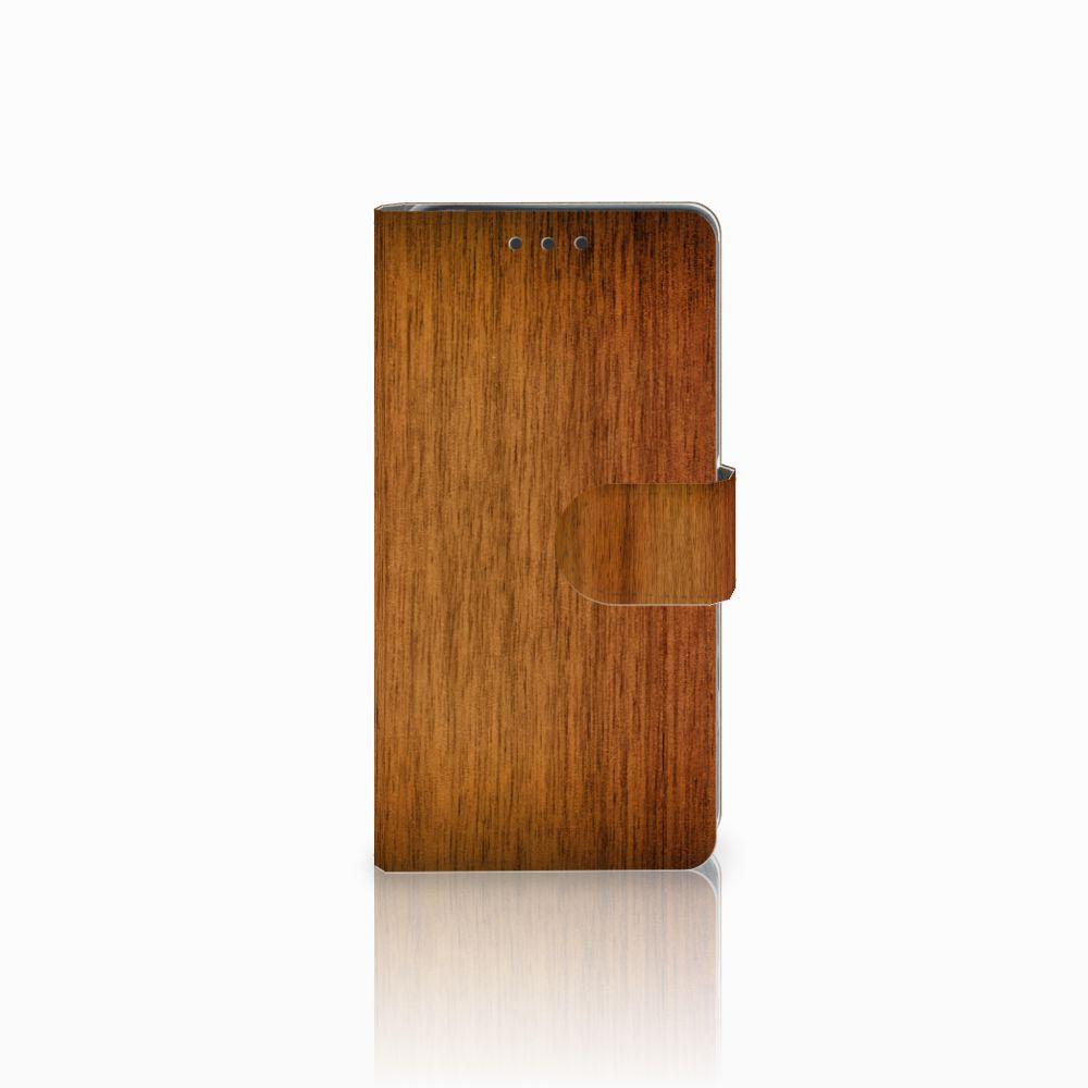 Sony Xperia X Uniek Boekhoesje Donker Hout