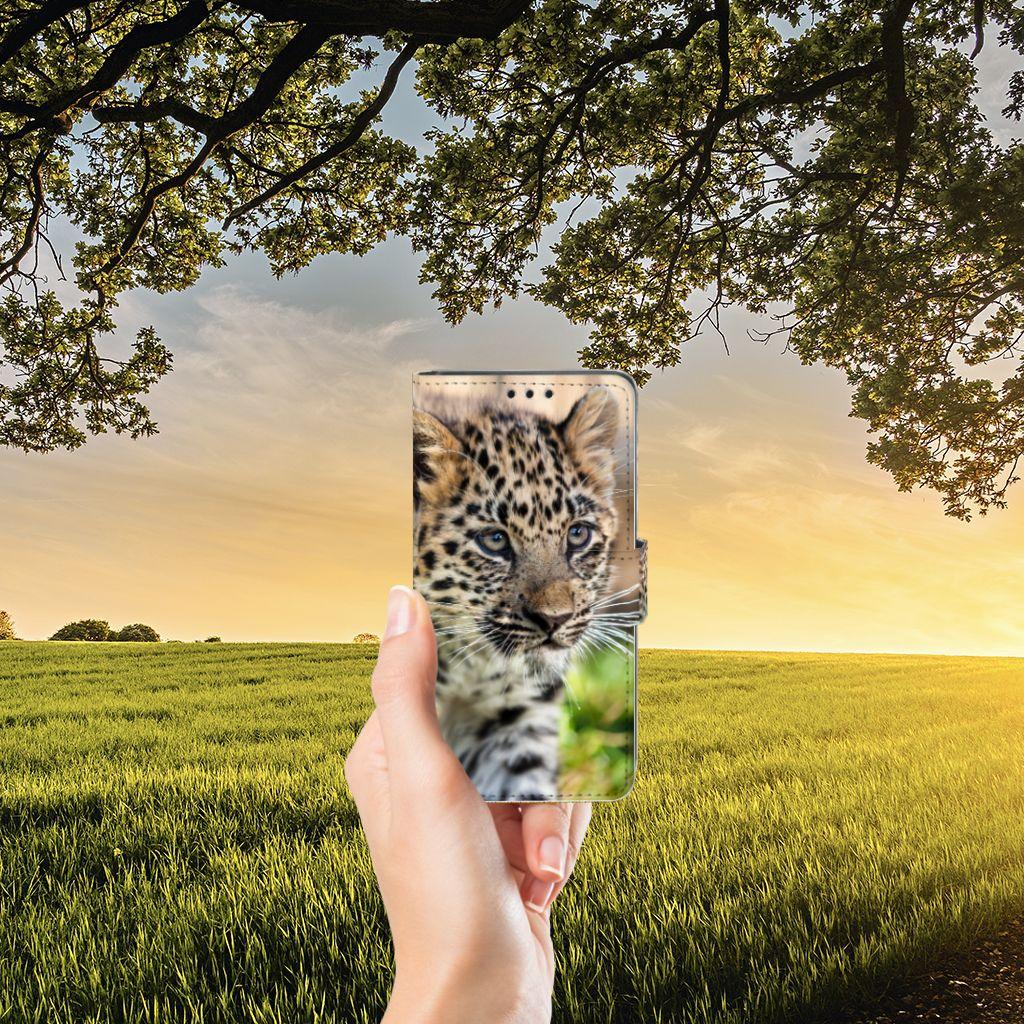 Sony Xperia Z5 | Z5 Dual Telefoonhoesje met Pasjes Baby Luipaard