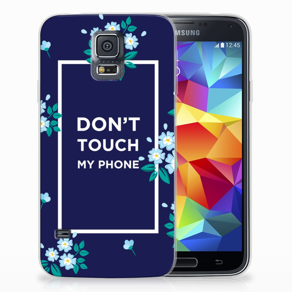 Samsung Galaxy S5 TPU Hoesje Flowers Blue DTMP