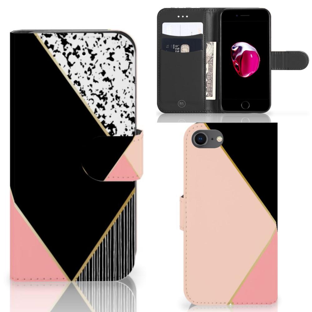 iPhone 7 | 8 | SE (2020) Bookcase Zwart Roze Vormen
