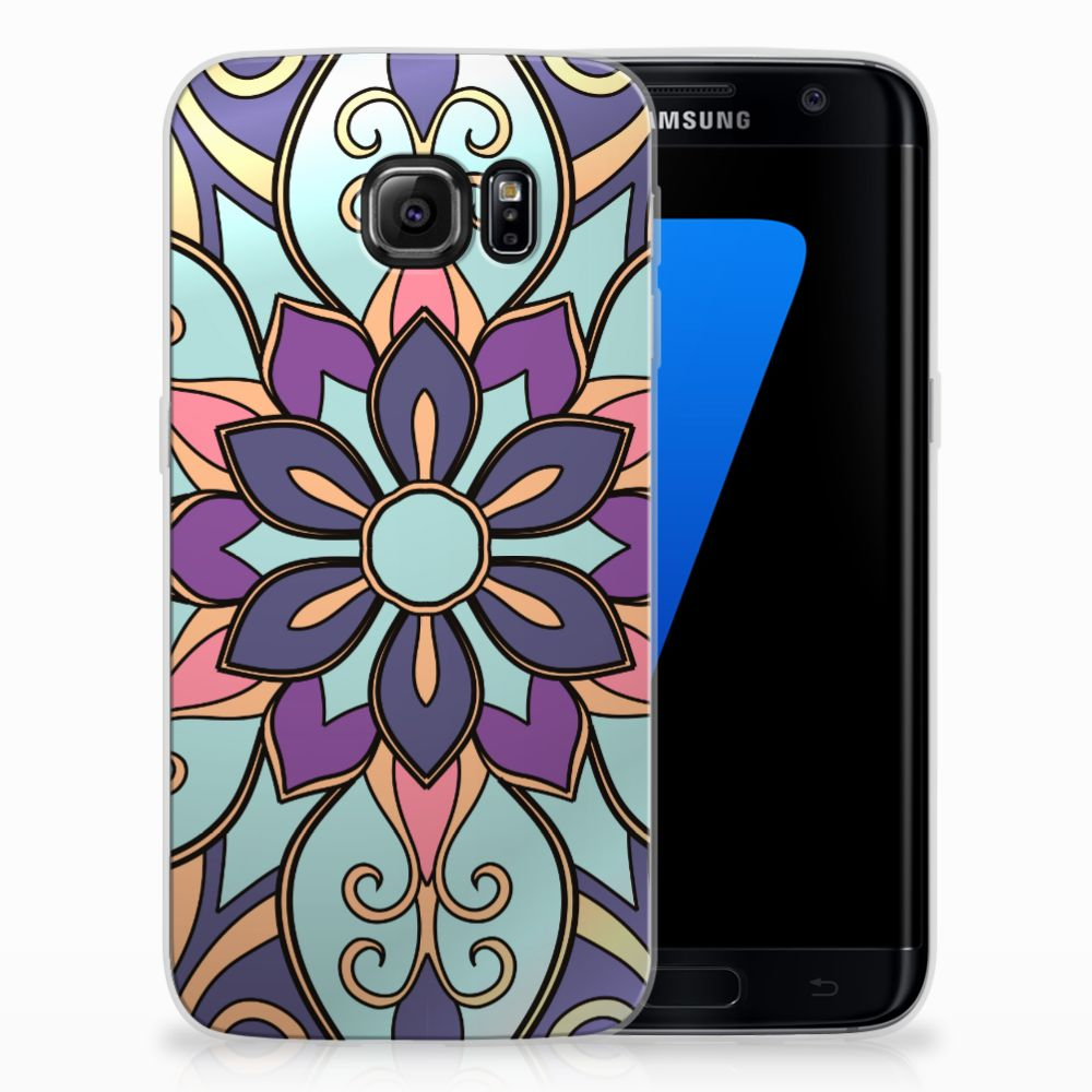 Samsung Galaxy S7 Edge TPU Hoesje Design Purple Flower